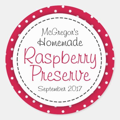 Round raspberry preserve or jam jar food label sticker