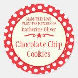 Round red cookie exchange baking gift stickers