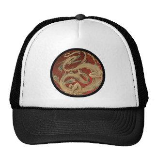 Round Red Dragon Trucker Hats