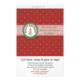Round Red Holiday Medallion Candy Wrappers 14 Cm X 21.5 Cm Flyer