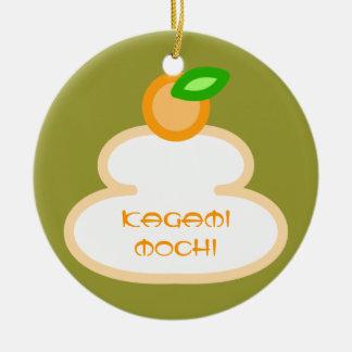Round rice-cake (kagami mochi) round ceramic decoration