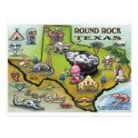 Round Rock Texas Cartoon Map Post Card
