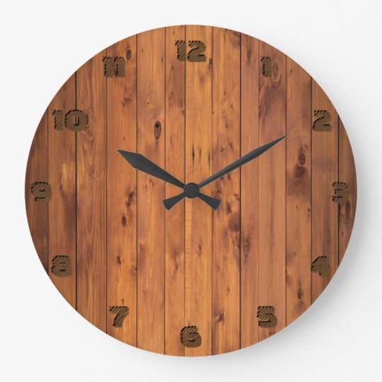 Round Rustic Faux Cherry Wood Stylised 3d Number Large Clock