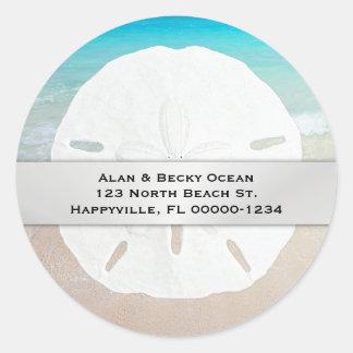 Round Sand Dollar Beach Return Address Labels