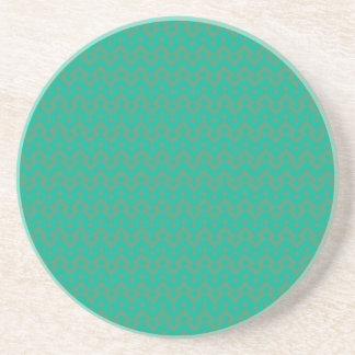 Round, Sandstone Coaster, Emerald Green Geometric Coaster