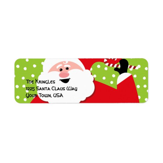 Round Santa Address Label