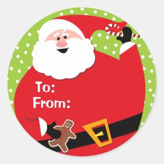 Round Santa Custom Gift Tags