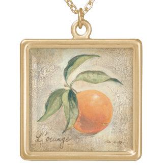 Round Shiny Orange Fruit Gold Plated Necklace