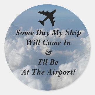 Round Ship Airport Round Sticker