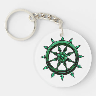 round ships wheel graphic blue green.png Double-Sided round acrylic key ring