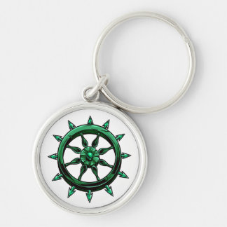 round ships wheel graphic blue green.png Silver-Colored round key ring
