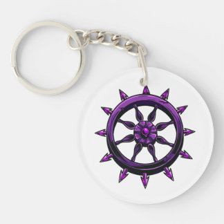 round ships wheel graphic purple.png Double-Sided round acrylic key ring
