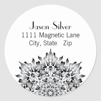 Round Silver Flame Address Labels Stickers