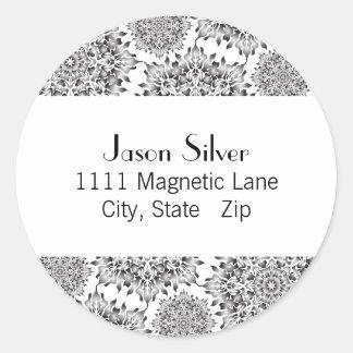 Round Silver Flame Address Labels Round Sticker