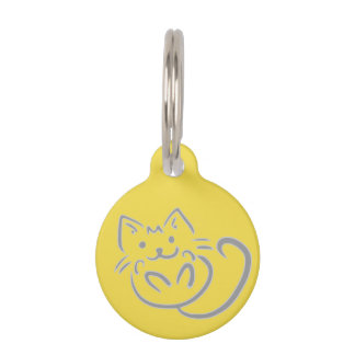 Round small pet tag