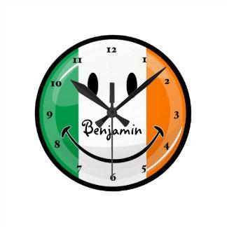 Round Smiling Irish Flag Round Clock