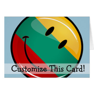Round Smiling Lithuanian Flag Greeting Card