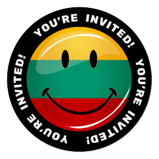 Round Smiling Lithuanian Flag 5.25x5.25 Square Paper Invitation Card
