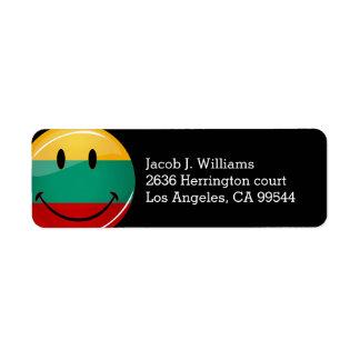 Round Smiling Lithuanian Flag Return Address Label