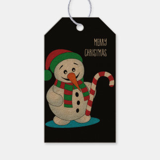 Round Snowman Personalized Christmas Gift Tag