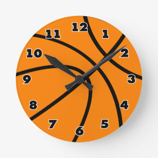 Round sports clock with basketball design