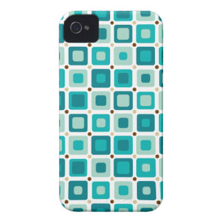 Round Squares Pattern Blue iPhone 4 Cases