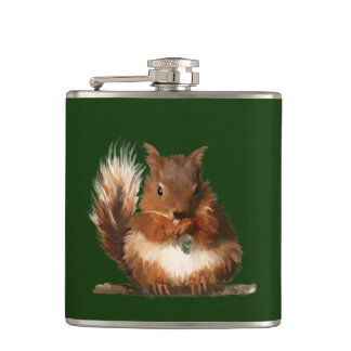 Round Squirrel Hip Flask