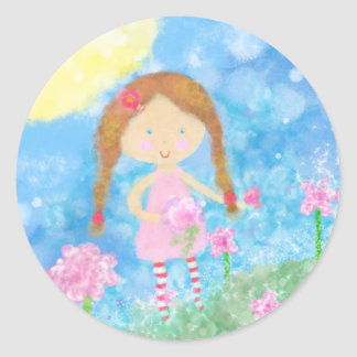 Round Sticker, Cute Little Girl Round Sticker