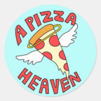 round sticker has pizza pie heaven