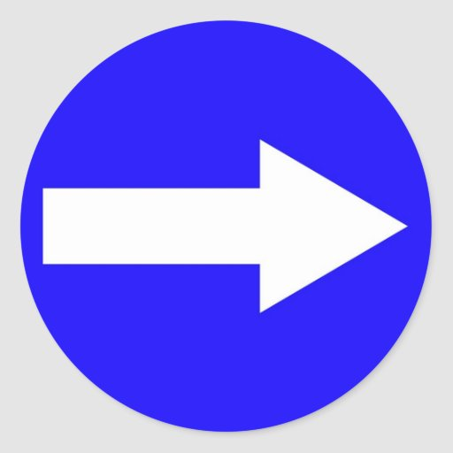 Round sticker with arrow on right