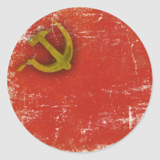 Round Sticker with Dirty Old Soviet Union Flag