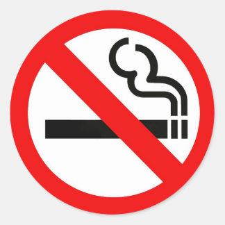 Round sticker with no-smoking symbol