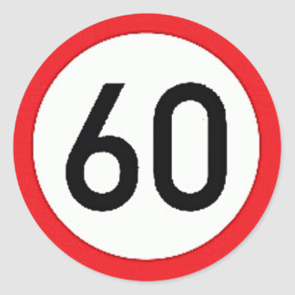Round sticker with speed limit 60 sign