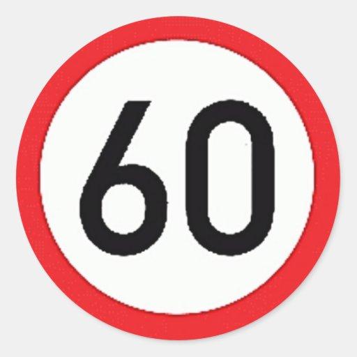 Round sticker with speed limit 60 sign