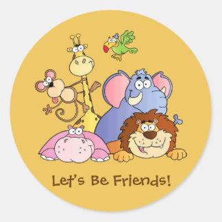 Round Stickers--Jungle Animals Classic Round Sticker