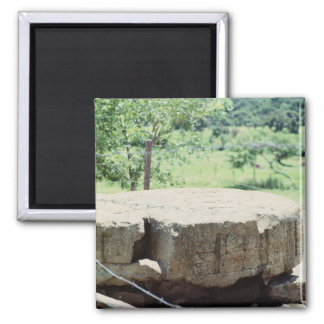 Round Stone Carved Block Mayan Ruins Copan Photo Magnet