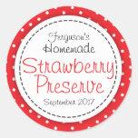 Round strawberry preserve or jam jar food label