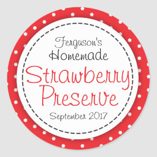Round strawberry preserve or jam jar food label
