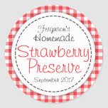 Round strawberry preserve or jam jar food label round sticker