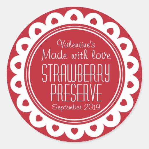 Round strawberry preserve or jam jar food label round stickers