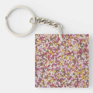 Round Sugar Sprinkles Single-Sided Square Acrylic Key Ring