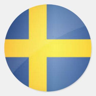Round Swedish Flag Button Classic Round Sticker