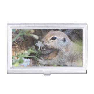 Round Tail Ground Squirrel Smelling the Flowers Business Card Holder