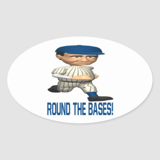 Round The Bases Oval Sticker