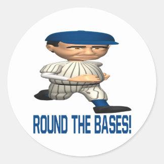 Round The Bases Round Sticker