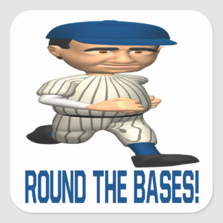 Round The Bases Square Sticker