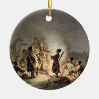 Round the Camp Fire (colour litho) Christmas Ornament
