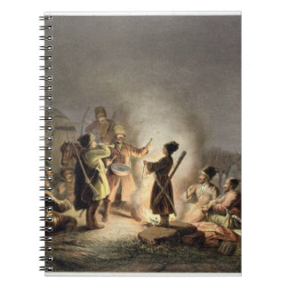 Round the Camp Fire (colour litho) Notebook