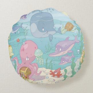 Round Throw Pillow/Sea Life Round Cushion