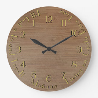 Round Too-It Backward Worn Wood Customizable Large Clock